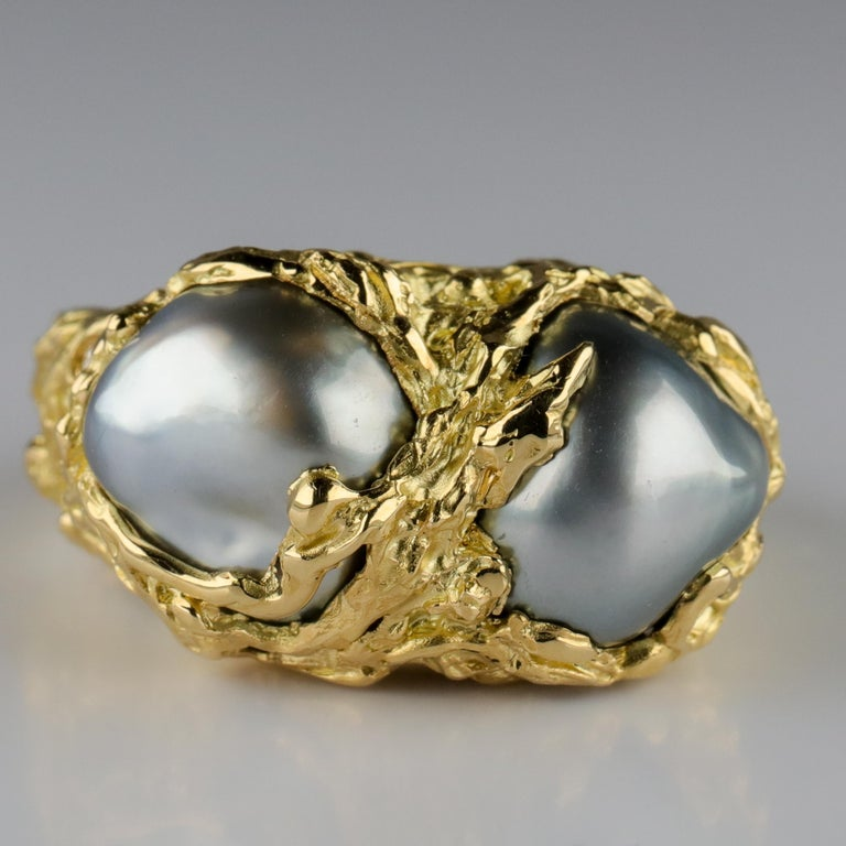 Men's Pearl Ring in Gold with Diamonds For Sale 7