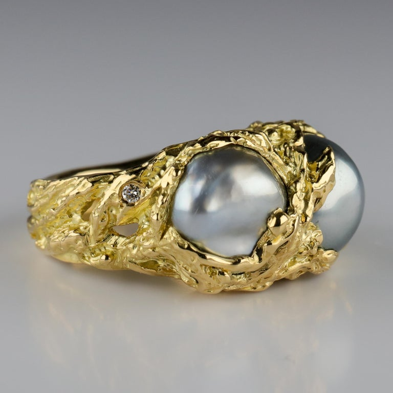 Men's Pearl Ring in Gold with Diamonds For Sale 8