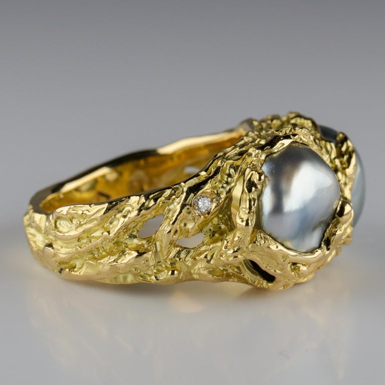 Men's Pearl Ring in Gold with Diamonds For Sale 9