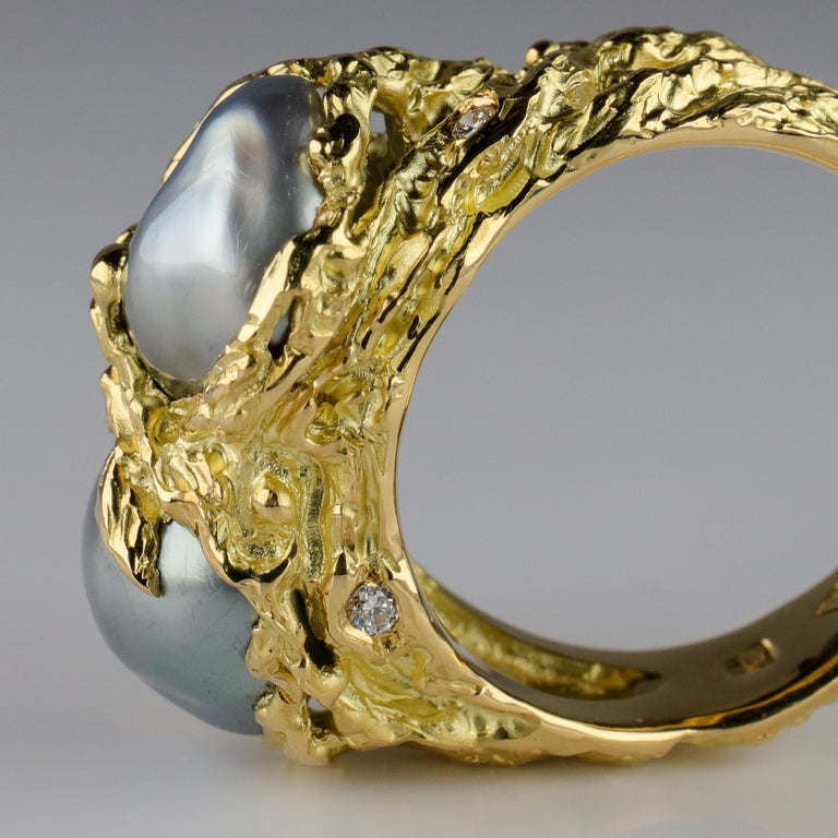 Men's Pearl Ring in Gold with Diamonds For Sale 10