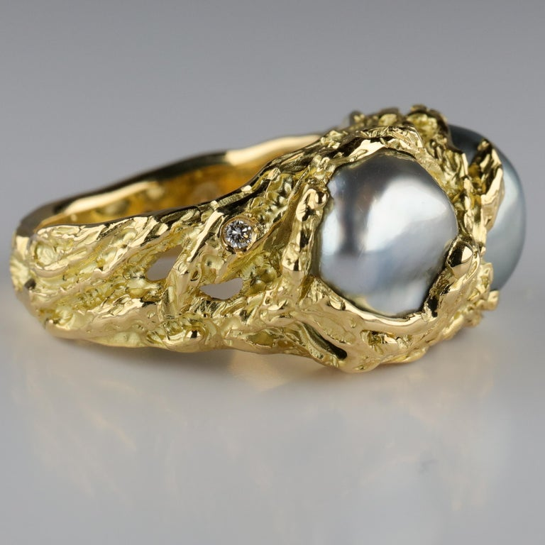 Men's Pearl Ring in Gold with Diamonds For Sale 11