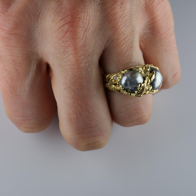 Men's Pearl Ring in Gold with Diamonds For Sale 12
