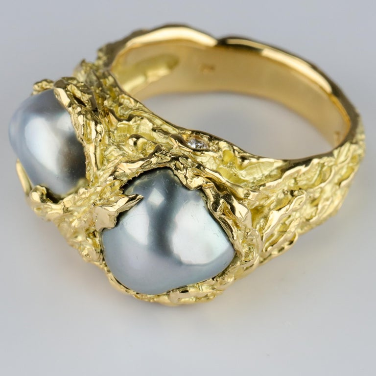 Women's or Men's Men's Pearl Ring in Gold with Diamonds For Sale