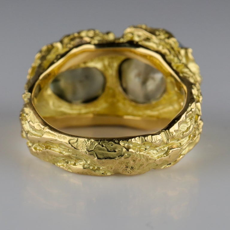 Men's Pearl Ring in Gold with Diamonds For Sale 4