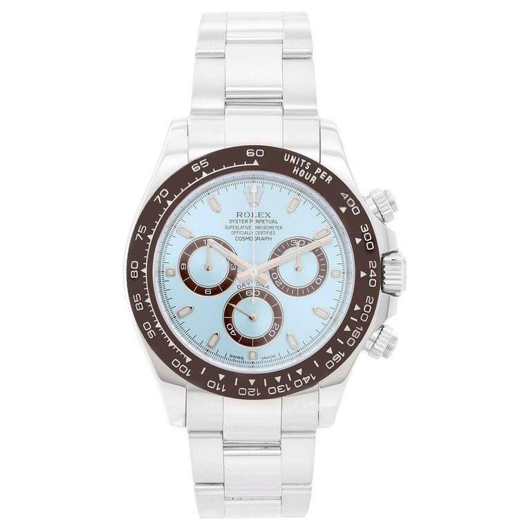 Men's Platinum Rolex Daytona Watch 116506 with Glacier Blue Dial For Sale