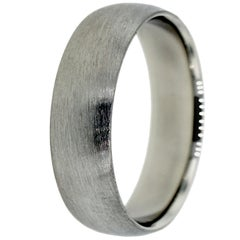 Men's Platinum Wedding Band with Brushed Finish