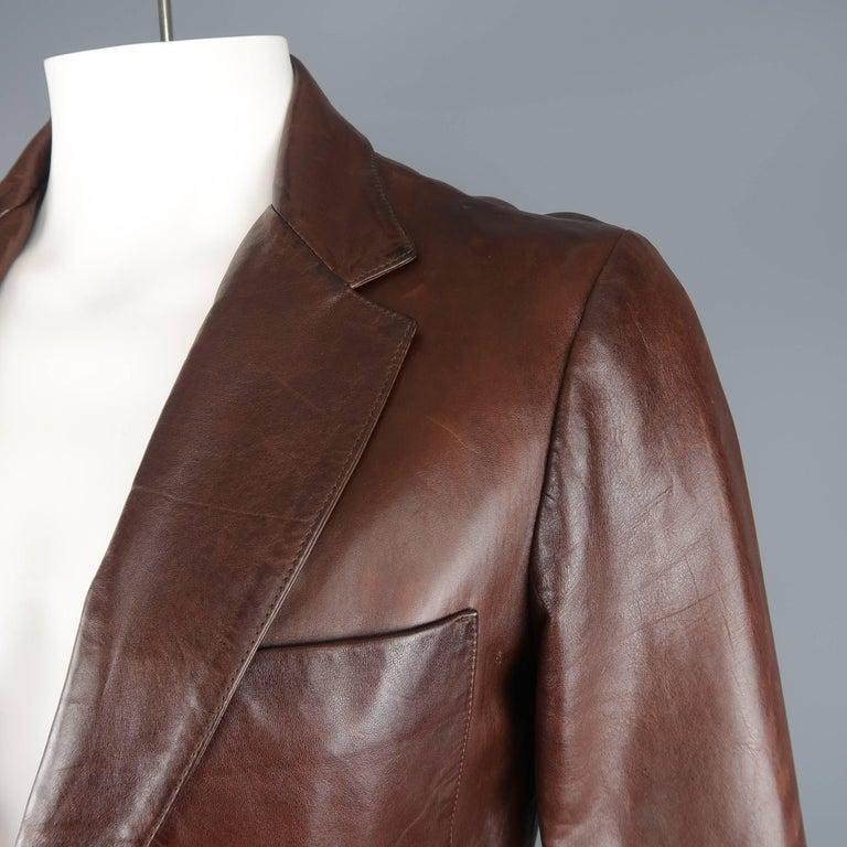 mens brown prada leather jacket