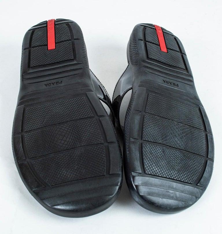 Men's Prada Black Patent Leather Flip Flop Thong Sandals - 21st Century, US 11 For Sale 6