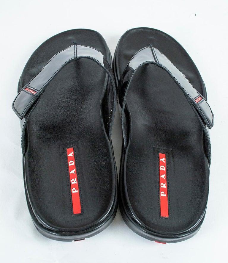 Men's Men's Prada Black Patent Leather Flip Flop Thong Sandals - 21st Century, US 11 For Sale