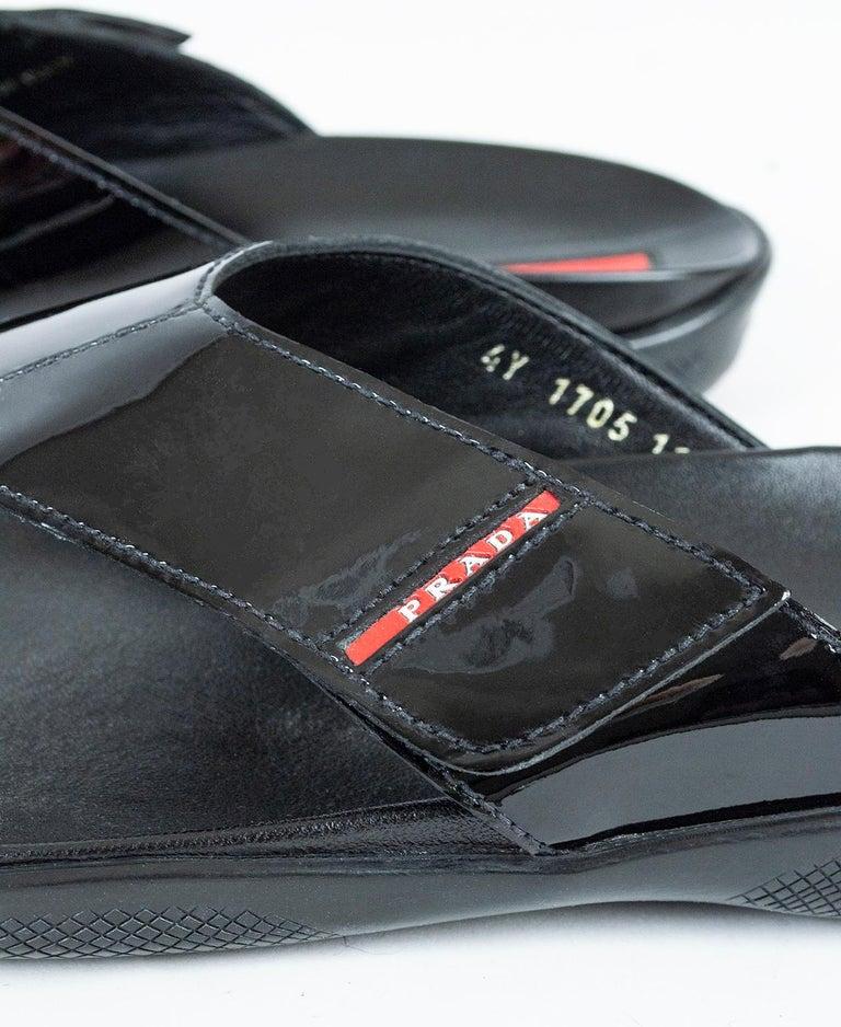 Men's Prada Black Patent Leather Flip Flop Thong Sandals - 21st Century, US 11 For Sale 2