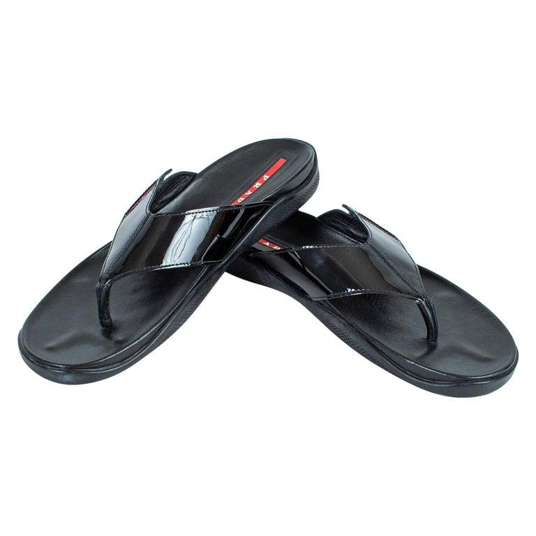 Men's Prada Black Patent Leather Flip Flop Thong Sandals - 21st Century, US 11 For Sale