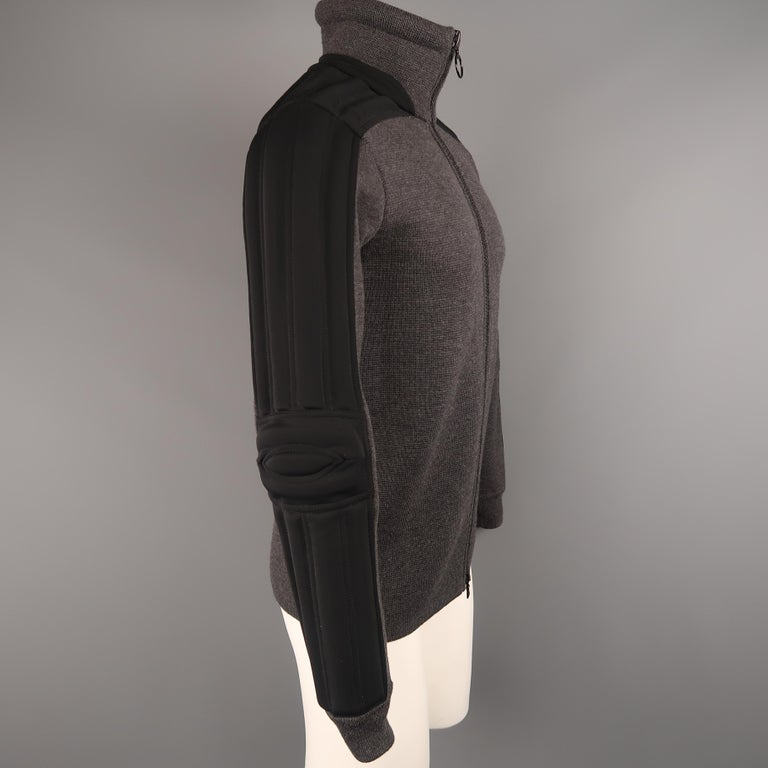 Men's PRADA S Gray Wool Knit High Collar Black Padded Moto Sleeve Jacket For Sale 1