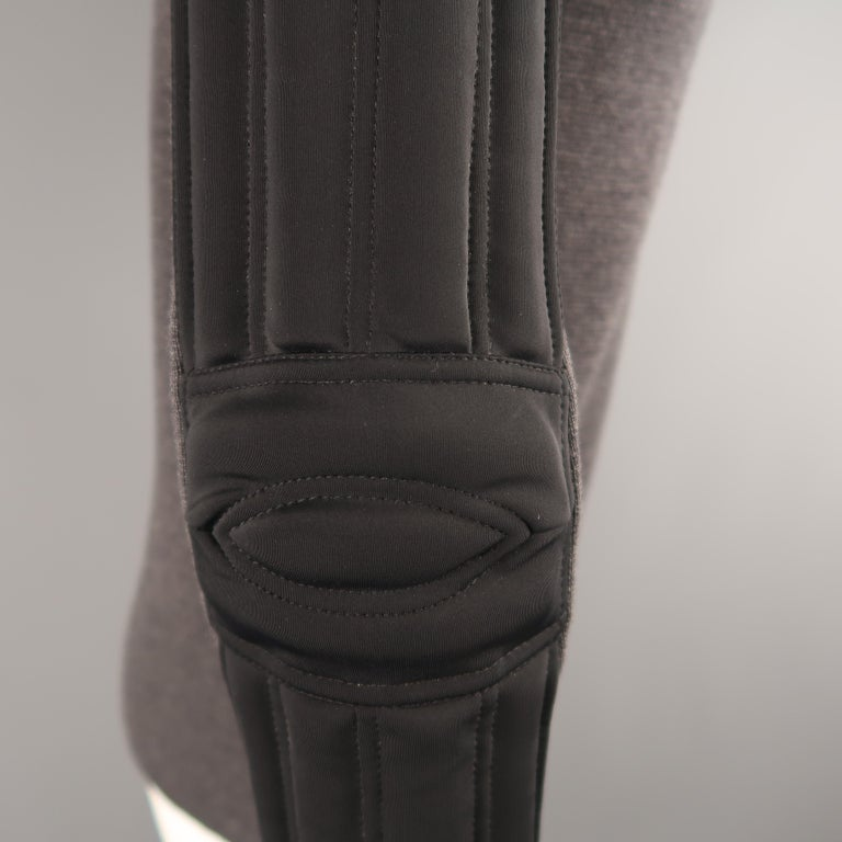 Men's PRADA S Gray Wool Knit High Collar Black Padded Moto Sleeve Jacket For Sale 2
