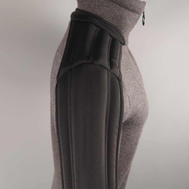 Men's PRADA S Gray Wool Knit High Collar Black Padded Moto Sleeve Jacket For Sale 3