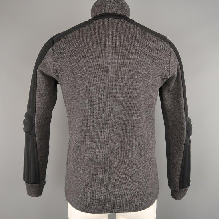 Men's PRADA S Gray Wool Knit High Collar Black Padded Moto Sleeve Jacket For Sale 4