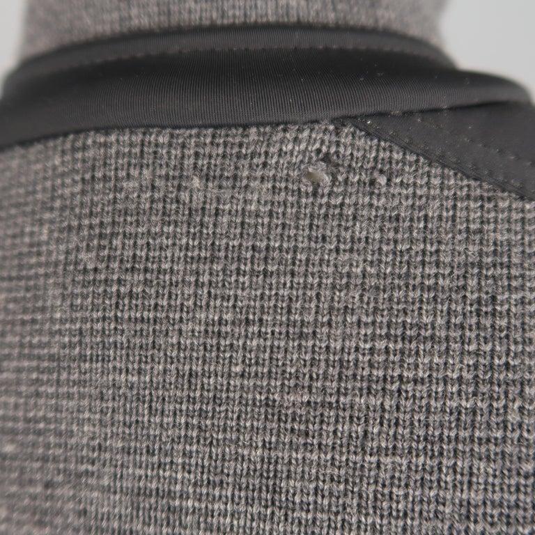 Men's PRADA S Gray Wool Knit High Collar Black Padded Moto Sleeve Jacket For Sale 5