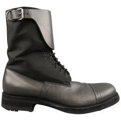 Men's PRADA Size 10 Gray Nylon & Leather Mid Calf Combat Boots