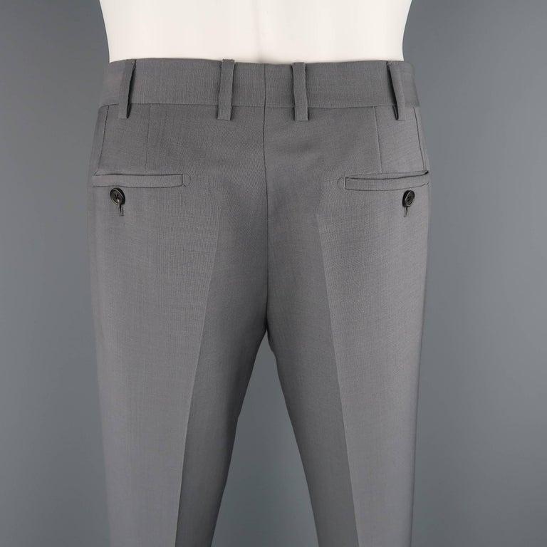 981191d0 Men's PRADA Size 30 Grey Solid Mohair / Wool Dress Pants