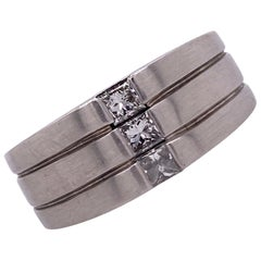 Men's Princess Cut Diamond 14 Karat White Gold Band Ring