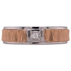 Men's Princess Cut Diamond Wedding Band Ring 14 Karat Rose and White Gold