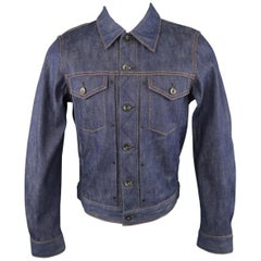 Men's RAG & BONE S Blue Contrast Stitch Selvedge Denim Trucker Jacket