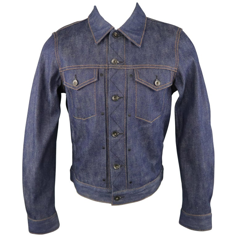 Men s RAG   BONE S Blue Contrast Stitch Selvedge Denim Trucker Jacket ... 3fdd5a8376b