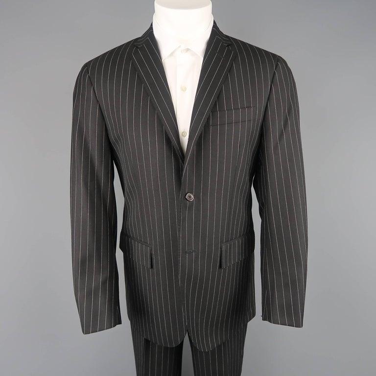 Ralph Lauren Men S Black Pinstripe Wool Notch Lapel Suit