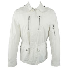 Men's RALPH LAUREN Black Label S White Cotton / Nylon Rain Parka Jacket