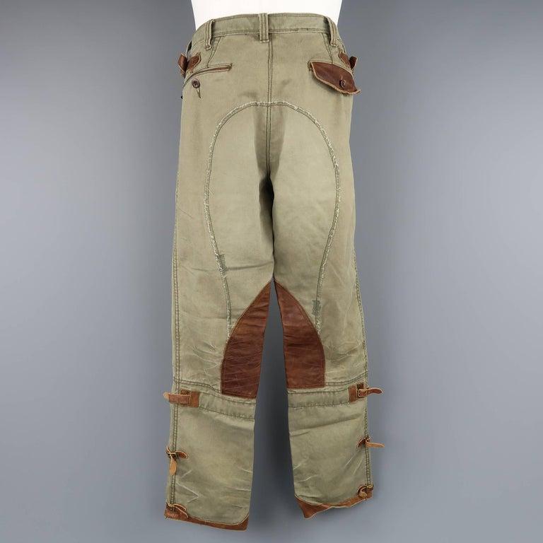 Men S Ralph Lauren Size 32 Olive Canvas Tan Leather Panel