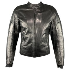 Men's RALPH LAUREN Size L Black Painted Motorcycle Leather Jacket
