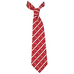 Men's Red and White Modern Graphic Stripe Cotton Necktie – Chicago, 1970s