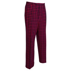 Men's Red Tartan Plaid Trousers, Harrod's - 38-33, 1980s