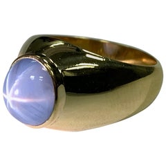 Men's Retro 10 Carat Gold Ring Natural Cabochon Bluish Star Sapphire Gem Stone