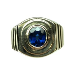 Men's Retro Gold Estate Ring 2 Carat Cushion Natural Blue Sapphire Gem Stone