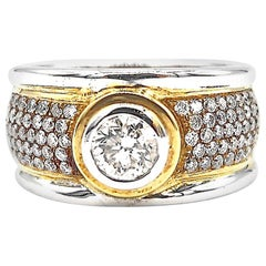 Men's Ring 2-Tone 18 Karat White and Yellow Gold Step Edge Diamond Band Ring