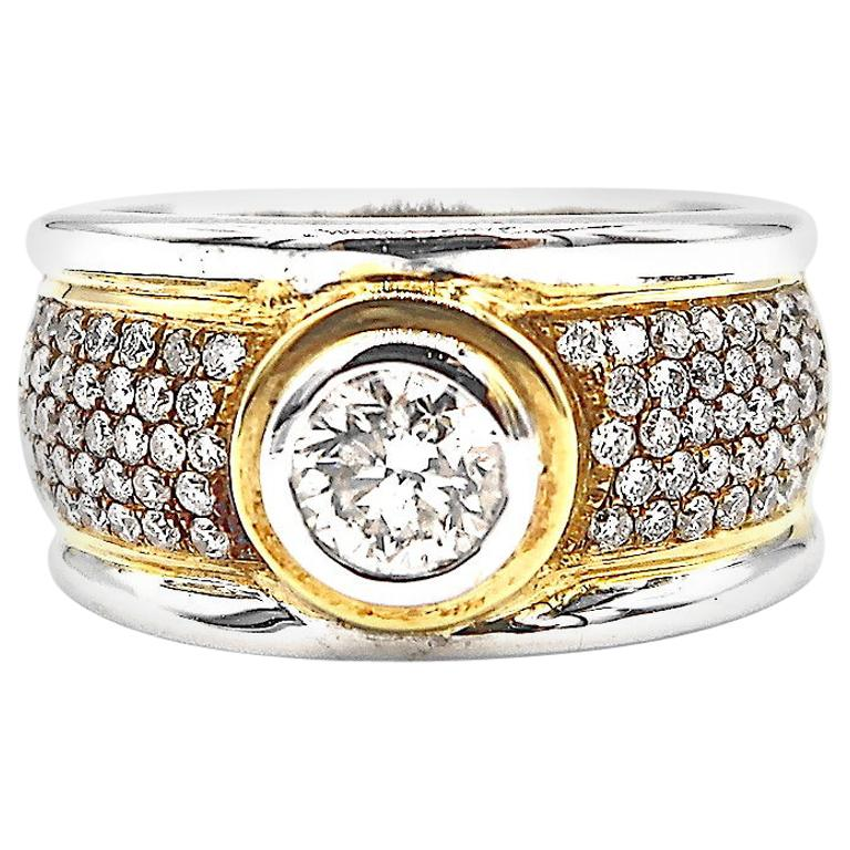 Men's Ring 2-Tone 18 Karat White and Yellow Gold Step Edge Diamond Band Ring For Sale