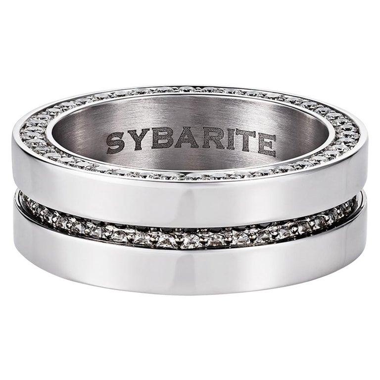 Men's Ring 2.40 Carat White Diamonds 20.85 Gold For Sale