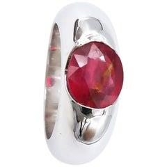 Men's Ring 4 Carat Oval Ruby Plain 18 Karat Gold Convex