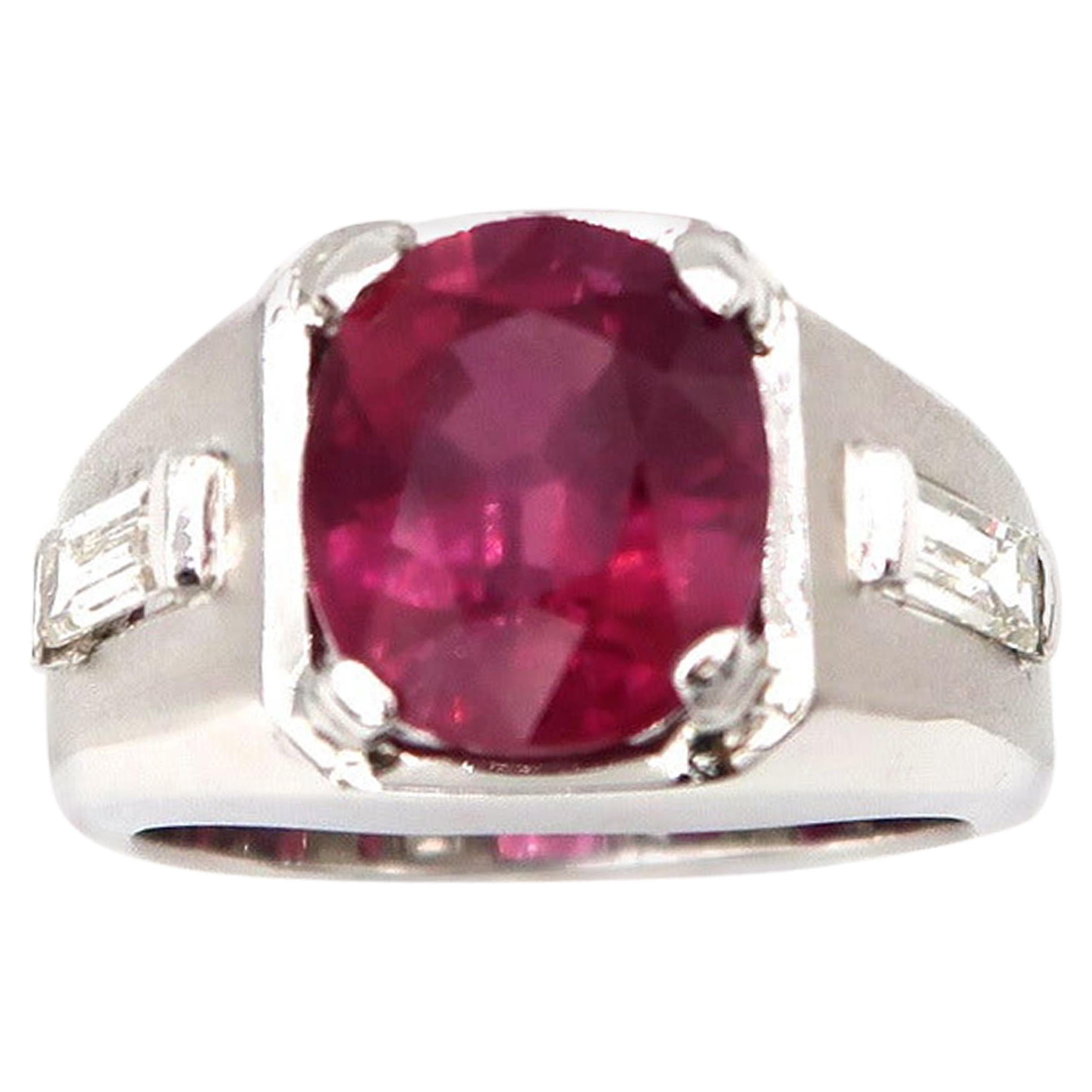Men's Ring 6 Carat Oval Ruby Flanked by Baguette Diamonds Matte Finish 14K Gold