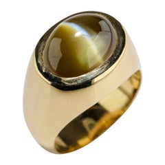 "Men's Ring Cat's Eye Chrysoberyl Ideal ""Milk and Honey"" Coloring 12.5 Carat"