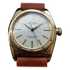 Men's Rolex 18K Gold Oyster Perpetual 3372 Bubble Back Automatic c.1946 LV932TAN