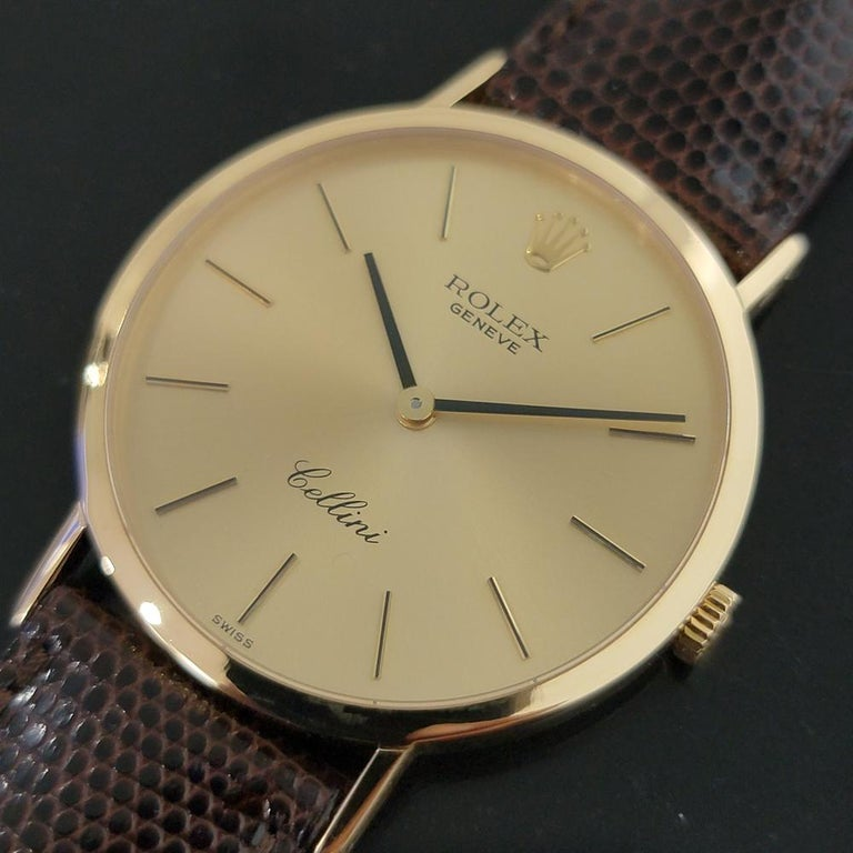 Mens Rolex Cellini Ref 4112 18k Gold Manual Wind 1970s Swiss Vintage RA161 In Excellent Condition For Sale In Beverly Hills, CA