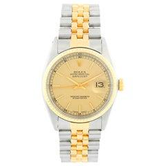 Men's Rolex Datejust 2-Tone Linen Dial Watch 16013