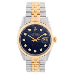 Men's Rolex Datejust 2-Tone Watch 1601 Blue Dial