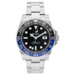 Men's Rolex GMT, Master II Stainless Steel Watch Black/Blue Bezel 116710 Batman