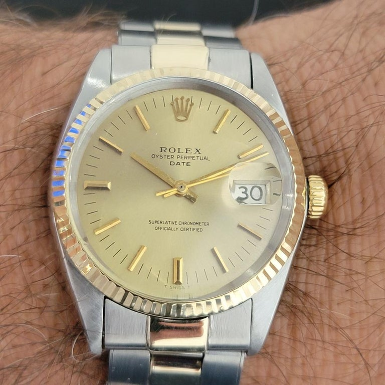 Mens Rolex Oyster Date 1500 14k Gold ss Automatic 1960s w Pouch RA166 For Sale 7