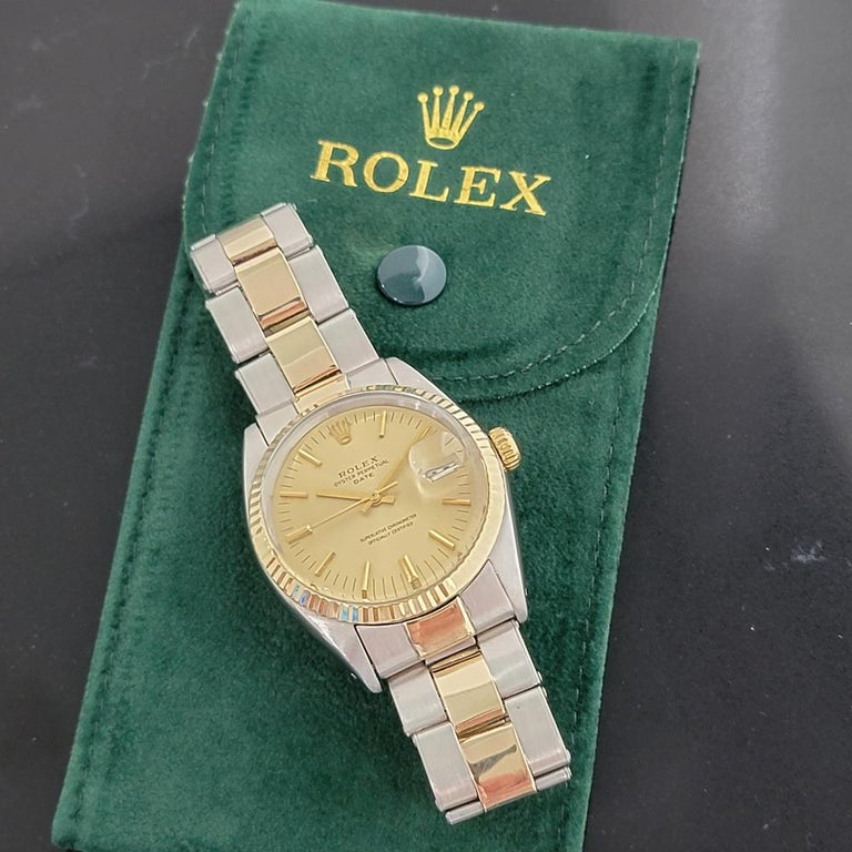 Mens Rolex Oyster Date 1500 14k Gold ss Automatic 1960s w Pouch RA166 For Sale 8