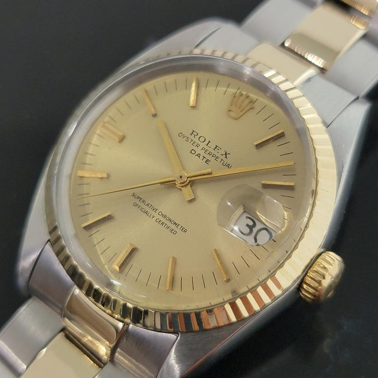 Timeless classic, Men's Rolex Oyster Perpetual Date 1500 14k gold & stainless steel automatic, c.1968, all original, with Rolex pouch. Verified authentic by a master watchmaker. Gorgeous Rolex signed gold dial, applied gold indice hour markers, gilt