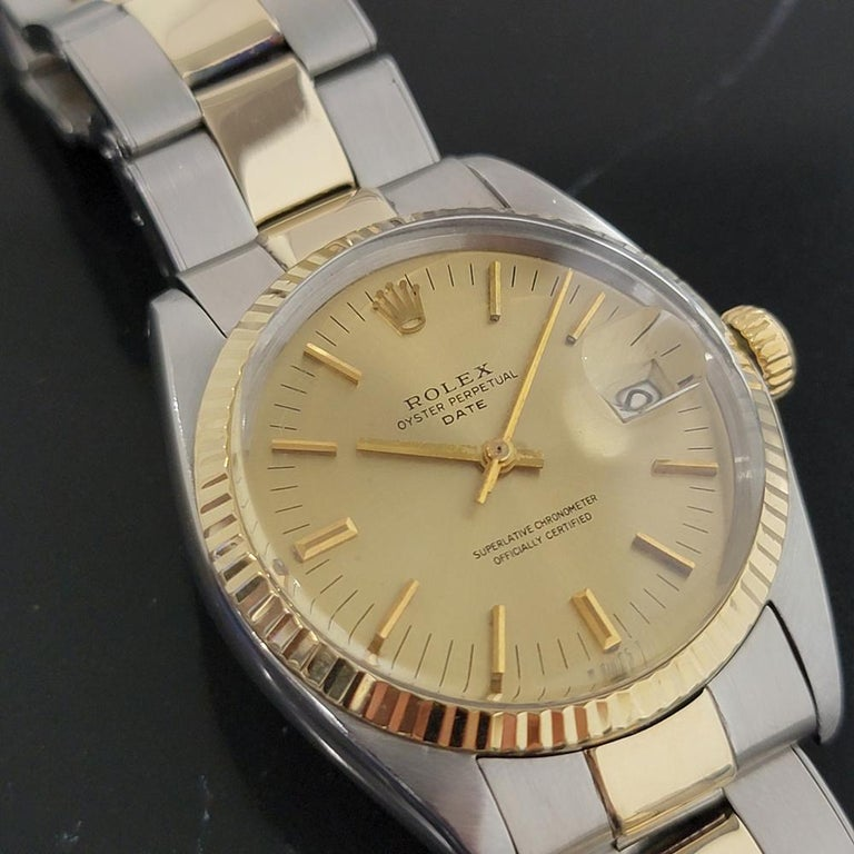 Mens Rolex Oyster Date 1500 14k Gold ss Automatic 1960s w Pouch RA166 In Excellent Condition For Sale In Beverly Hills, CA