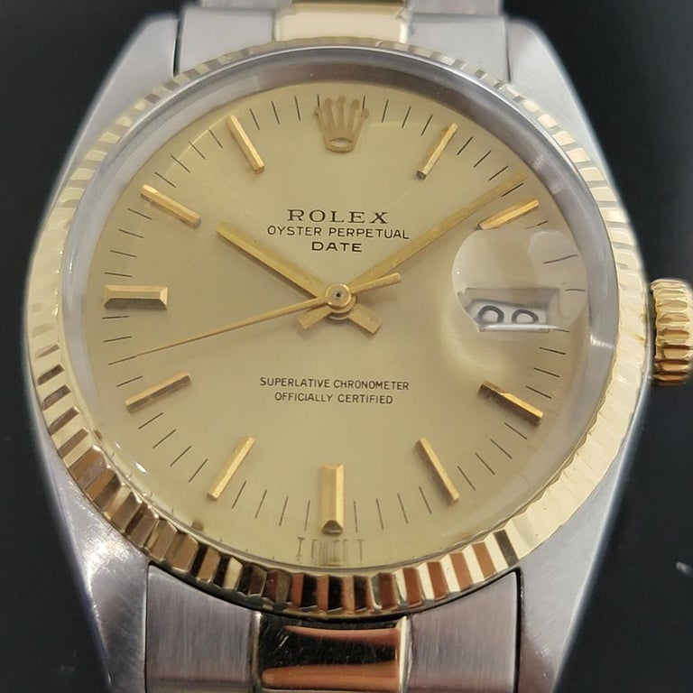 Men's Mens Rolex Oyster Date 1500 14k Gold ss Automatic 1960s w Pouch RA166 For Sale